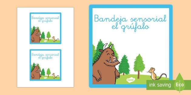 Etiqueta de bandeja sensorial: El grúfalo - ordenar, organización, sentidos, actividades sensoriales, el grúfalo,Spanish