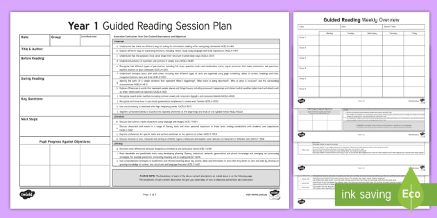 Year 1 Australian Curriculum Guided Reading Session Planning Template - year 1, australian curriculum, guided reading session, language, literacy, literature, guided readin