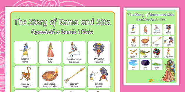 The Story of Rama and Sita Vocabulary Poster Polish Translation