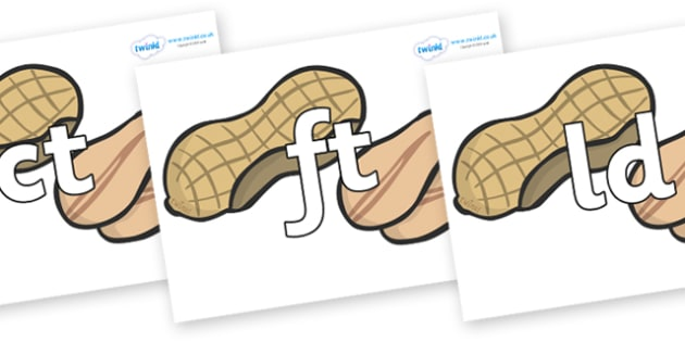 Final Letter Blends on Peanuts - Final Letters, final letter, letter blend, letter blends, consonant, consonants, digraph, trigraph, literacy, alphabet, letters, foundation stage literacy