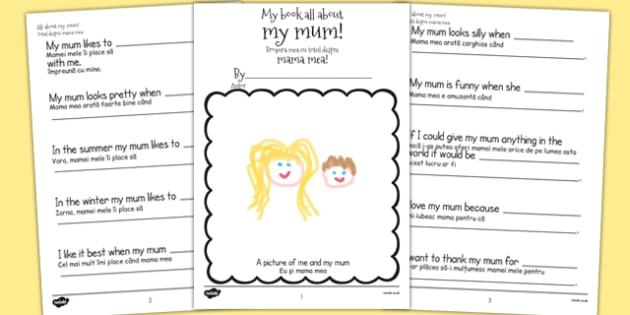 A Book About My Mum Template Romanian Translation - romanian, mothers day, mum, writing template