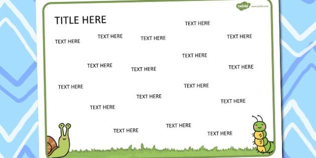 Minibeasts Themed Editable Word Mat - literacy, writing, words
