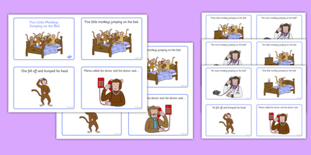 5 Little Monkeys Jumping on the Bed Sequencing 4 per A4 - EYFS planning, Early years, nursery rhymes, number rhymes, counting songs