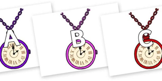 A-Z Alphabet on Pocket Watches - A-Z, A4, display, Alphabet frieze, Display letters, Letter posters, A-Z letters, Alphabet flashcards