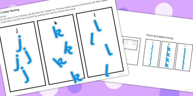 Workstation Pack Lowercase Letter Sorting Activities Set 2