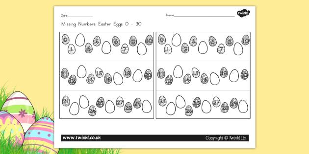 Missing Numbers Easter Eggs Worksheet 0 30 - counting, easter