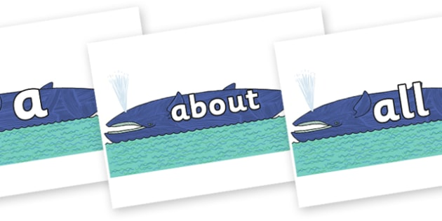 100 High Frequency Words on Whale to Support Teaching on Sharing a Shell - High frequency words, hfw, DfES Letters and Sounds, Letters and Sounds, display words