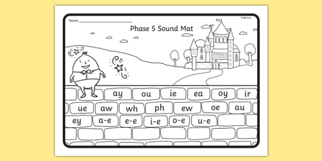 Humpty Dumpty Themed Phase 5 Sound Mat - humpty dumpty, phase 5, sound mat