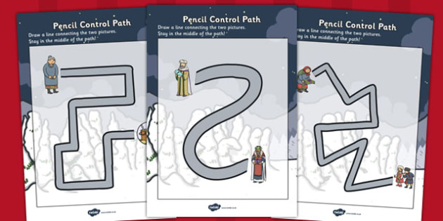 Babushka Pencil Control Path Worksheets - babushka, control, path