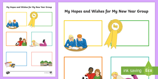 Hopes and Wishes for My New Year Group Secondary SEN Activity Sheet, worksheet
