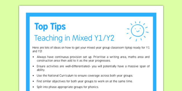 Teaching in Mixed Y1/Y2 Top Tips
