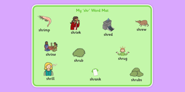 SHR Word Mat - speech sounds, phonology, articulation, speech therapy, cluster reduction