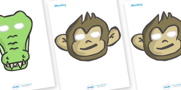 Five Little Monkeys Role Play Masks - Five Little Monkeys, nursery rhyme, rhyme, rhyming, nursery rhyme story, nursery rhymes, counting rhymes, taking away, subtraction, counting basckwards, Five Little Monkeys resources, one less than
