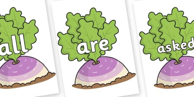 Tricky Words on Turnip in the Ground - Tricky words, DfES Letters and Sounds, Letters and sounds, display, words