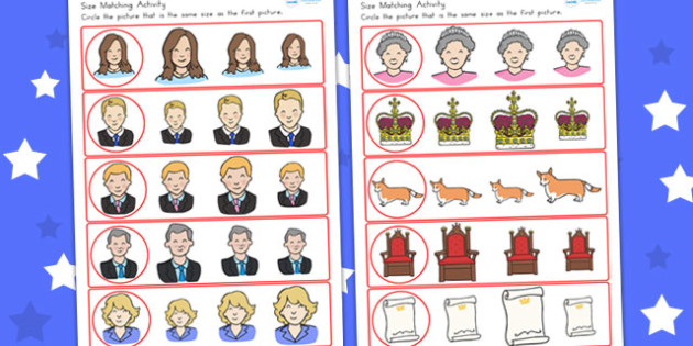 Royal Family Size Matching Worksheets - royality, queen elizabeth