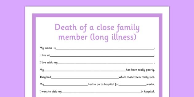 Social Situation Sheet Death of a Close Family Member Long Illness - social story, death, family member, long illness