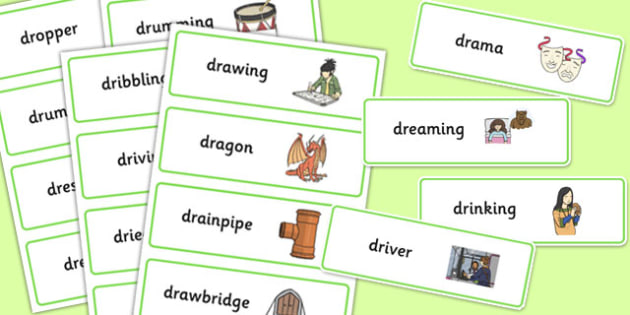 Two Syllable DR Word Cards - speech sounds, phonology, articulation, speech therapy, cluster reduction, clusters, blends