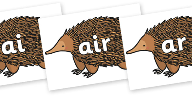 Phase 3 Phonemes on Echidna - Phonemes, phoneme, Phase 3, Phase three, Foundation, Literacy, Letters and Sounds, DfES, display