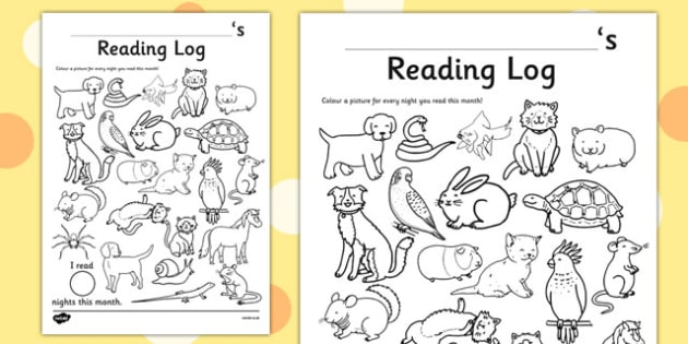 Pets Themed Colour in Reading Log - monitor, diary, record, home learning, independent, early years, ks1, key stage 1, reward, award, english, books, library