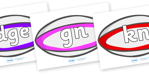 Silent Letters on Rugby Balls - Silent Letters, silent letter, letter blend, consonant, consonants, digraph, trigraph, A-Z letters, literacy, alphabet, letters, alternative sounds