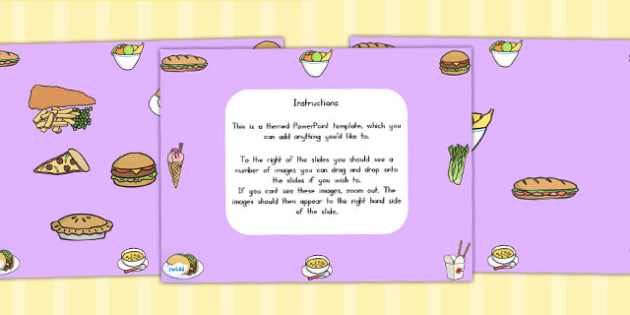 Food Themed Editable PowerPoint Background Template - foods