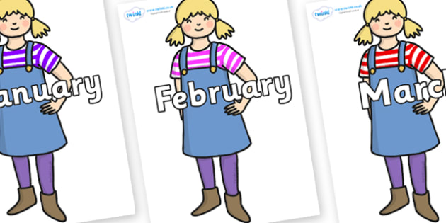 Months of the Year on Little Girl - Months of the Year, Months poster, Months display, display, poster, frieze, Months, month, January, February, March, April, May, June, July, August, September