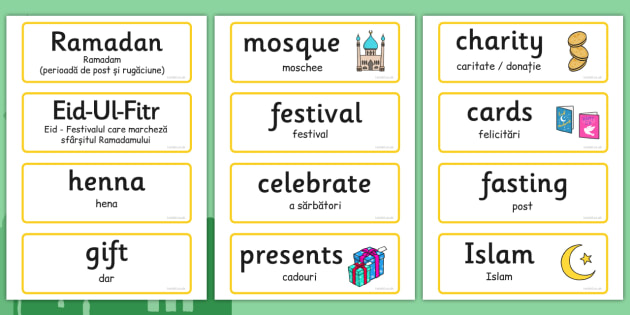 Eid Topic Words Romanian Translation - romanian, eid, words, word cards, topic