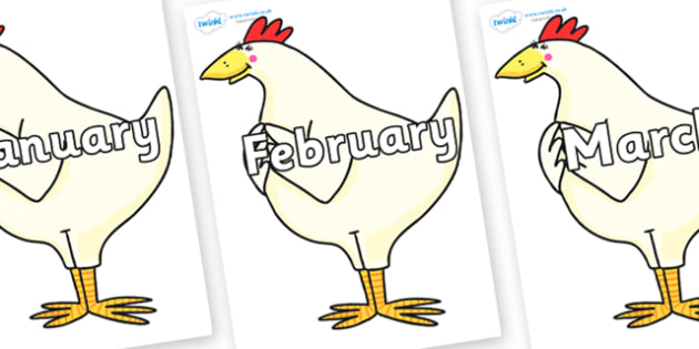 Months of the Year on Hullabaloo Chicken to Support Teaching on Farmyard Hullabaloo - Months of the Year, Months poster, Months display, display, poster, frieze, Months, month, January, February, March, April, May, June, July, August, September