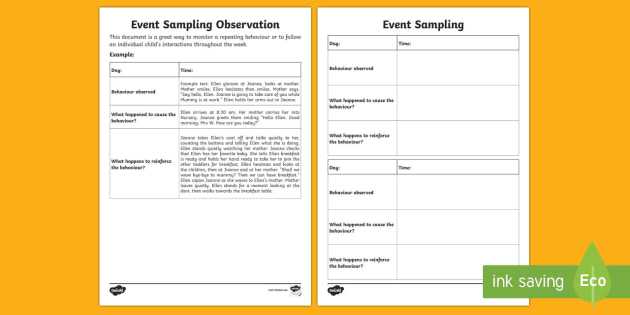 ECE Event Sampling Observation Record - New Zealand Back to School,Observation,Template,Behaviour,Event sampling,child interactions