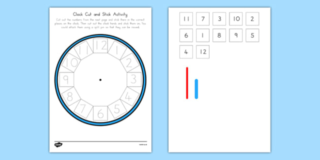 Traceable Clock Cut-Out Cut and Stick Activity - blank, clock, cut out, cut and stick, activity, time, ks1, eyfs,