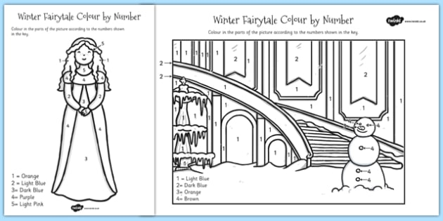 Winter Fairytale Colour by Number - frozen, colour, number, fairy
