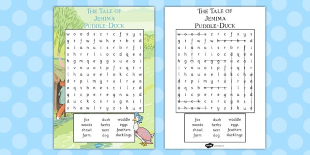 The Tale of Jemima Puddle-Duck Wordsearch - jemima puddle-duck