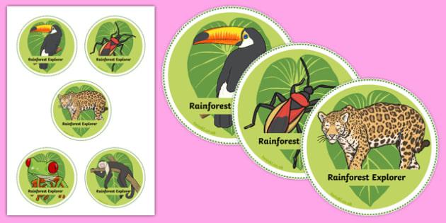 Rainforest Explorer Role Play Badges - rainforest, explorer, role play, badges, label, labels, snake, forest, ecosystem, rain, humid, parrot, monkey, gorilla