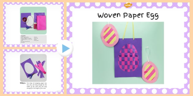 Woven Paper Egg Craft Instructions PowerPoint - powerpoint, craft