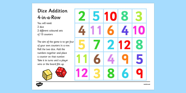 Four in a Row Dice Addition Game - four in a row, dice addition, game, dice addition game, adding, games, fun, activities, 4-in-a-row, maths, counting, numeracy, counters