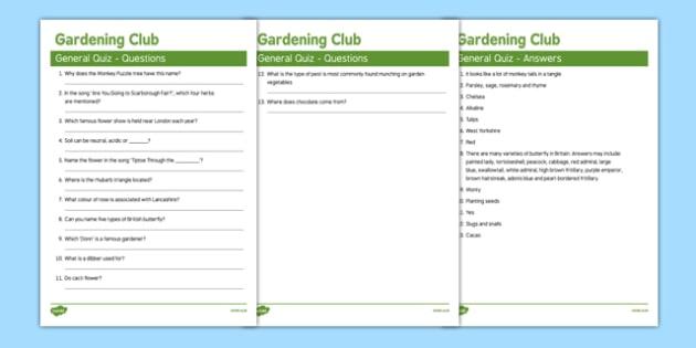Elderly Care Gardening Club General Quiz - Elderly, Reminiscence, Care Homes, Gardening Club