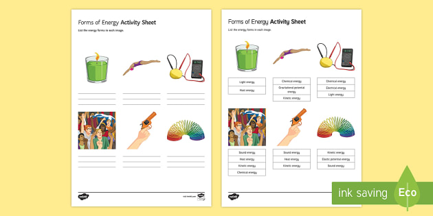Forms of Energy Activity Sheet - energy, energy store, energy form, types of energy, worksheet