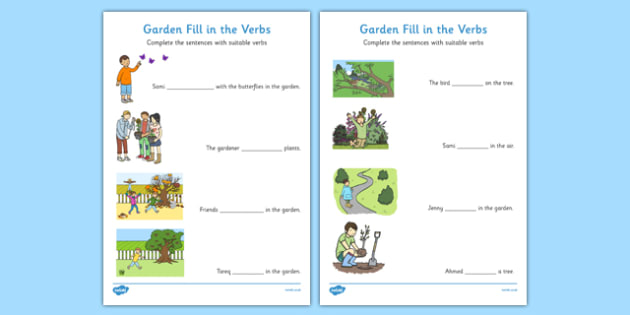 Garden Fill in the Verbs Worksheets - garden, fill in the verbs, fill, verbs, worksheet, missing