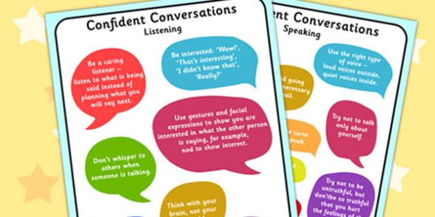 Confident Conversation Display Posters - confident, conversation, display