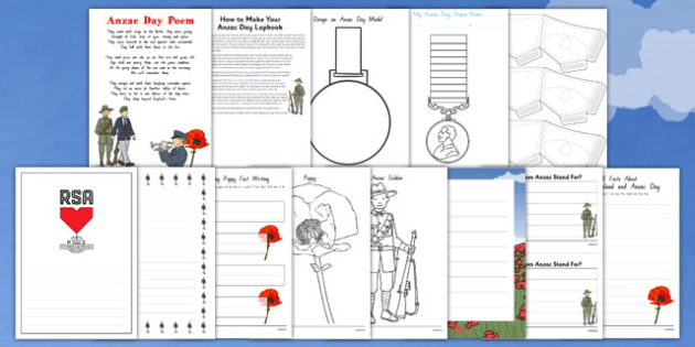Anzac Day Lapbook Creation Pack - nz, new zealand, lapbook, creation, pack