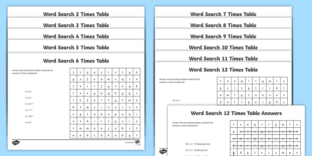 Multiplication 2 12 Times Tables Word Search Pack - multiplication, 2, 12, times tables, wordsearch, pack, multiplication pack, times tables pack, numeracy