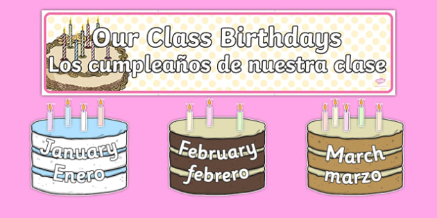 Editable Birthday Display Set Cakes Spanish Translation--translation