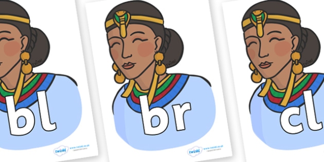 Initial Letter Blends on Egyptian Women - Initial Letters, initial letter, letter blend, letter blends, consonant, consonants, digraph, trigraph, literacy, alphabet, letters, foundation stage literacy