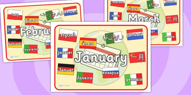 Months of the Year Mixed Languages Display Poster - months, year