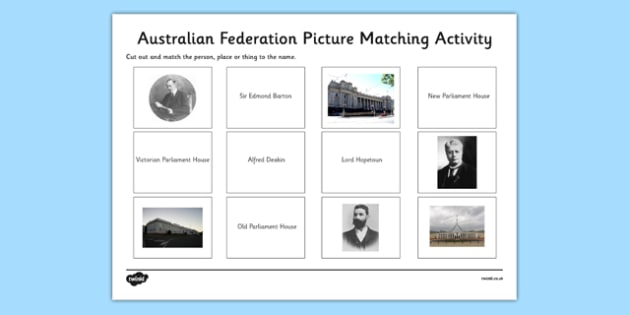 Australian Federation Picture Matching Activity - Australia as a Nation, Stage 3, Year 5, Year 6, History, Voting, Matching Activity, Worksheet