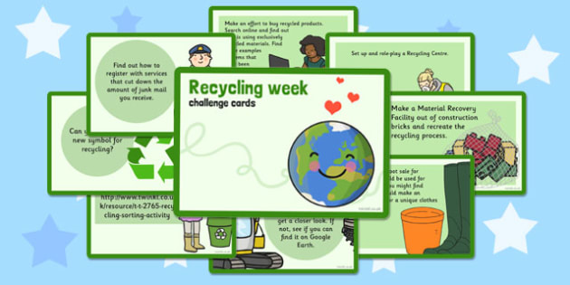 Recycling Week Challenge Cards - recycling, week, challenge