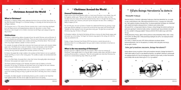 Christmas around the World Comprehension Sheet Polish Translation - reading, festive, questions, topic, ks1, ks2,