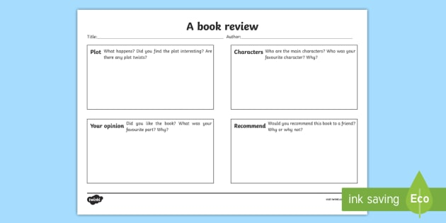 Book Review Template For Kids- Book Review Writing Template