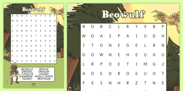Beowulf Wordsearch - beowulf, wordsearch, word search, words