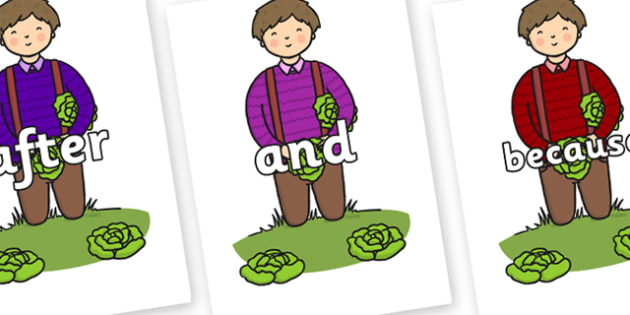 Connectives on Dad Picking Lettuces - Connectives, VCOP, connective resources, connectives display words, connective displays